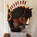 Horses head cake, this cake was for cake international competition he is completely edible hes is a shire horse in his show tack everything is made from modelling chocolate and then painted and airbrushed